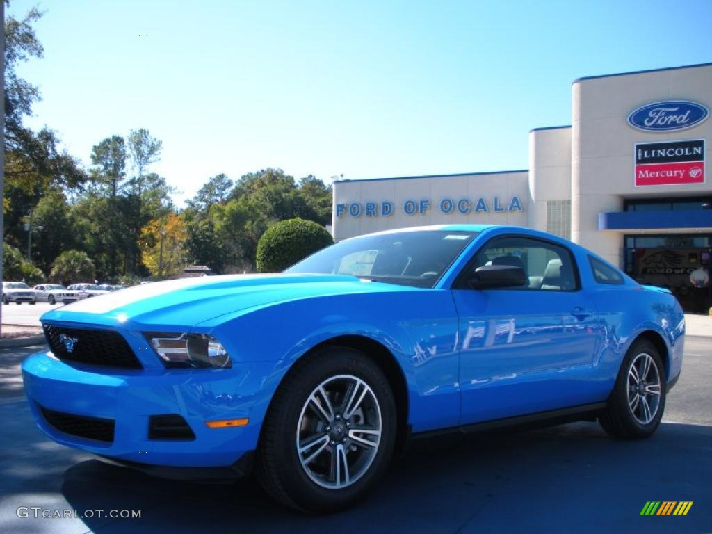 2011 Mustang V6 Premium Coupe - Grabber Blue / Charcoal Black photo #1