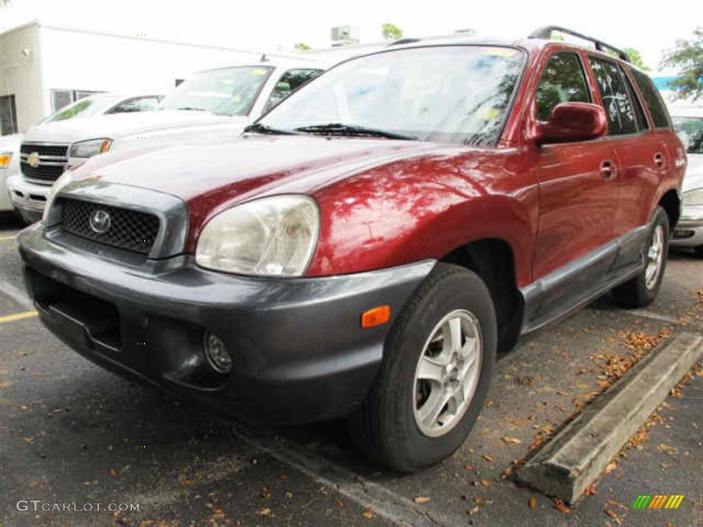 2004 Santa Fe GLS - Merlot Red / Beige photo #4