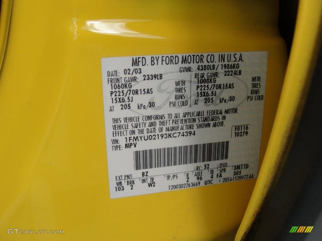 2003 escape color code bz for chrome yellow metallic photo 40543761 gtcarlot com