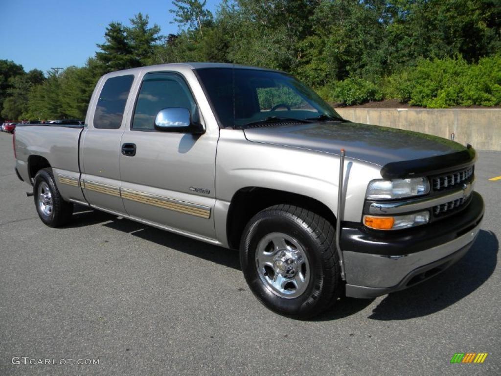 2002 Silverado 1500 LS Extended Cab - Light Pewter Metallic / Medium Gray photo #1