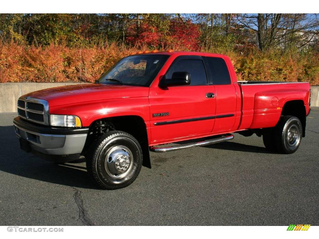 2001 Flame Red Dodge Ram 3500 Slt Quad Cab 4x4 Dually