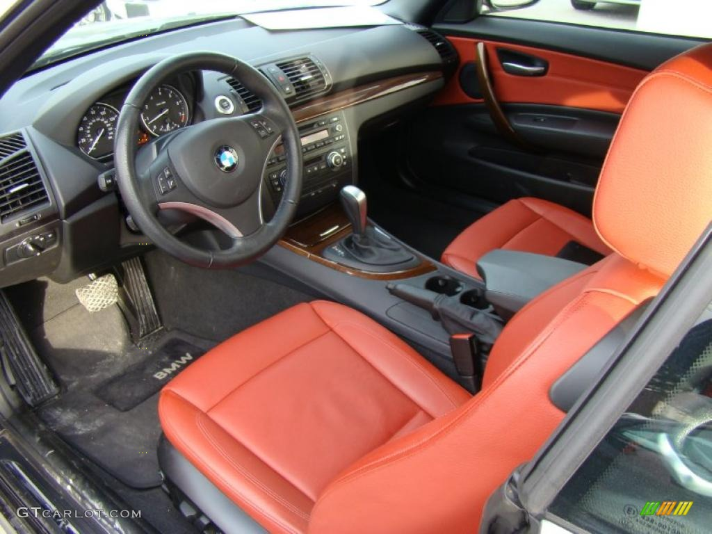 Coral Red Interior 2008 Bmw 1 Series 128i Convertible Photo 40605865