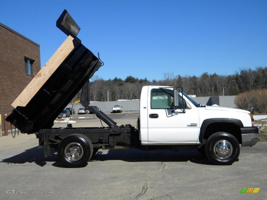 2003 Silverado 3500 Regular Cab 4x4 Chassis Dump Truck - Summit White / Dark Charcoal photo #1