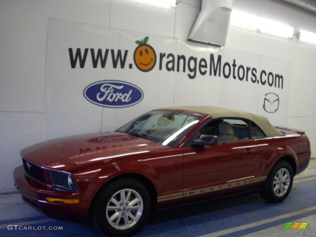 2007 Mustang V6 Deluxe Convertible - Redfire Metallic / Medium Parchment photo #1