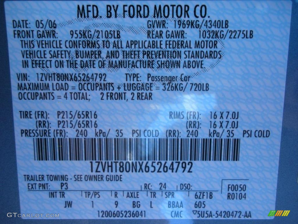 2006 Mustang Color Code P3 for Windveil Blue Metallic Photo #40759387
