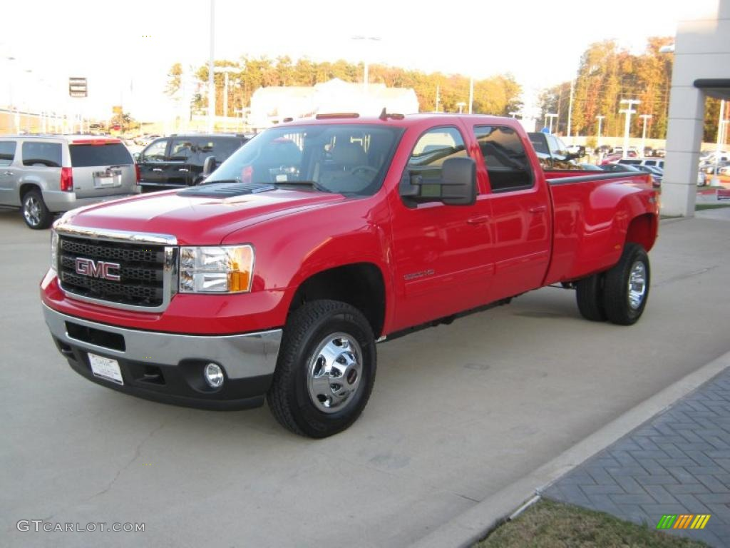 Fire red 2011 gmc sierra 3500hd slt crew cab 4x4 dually exterior photo 40777295