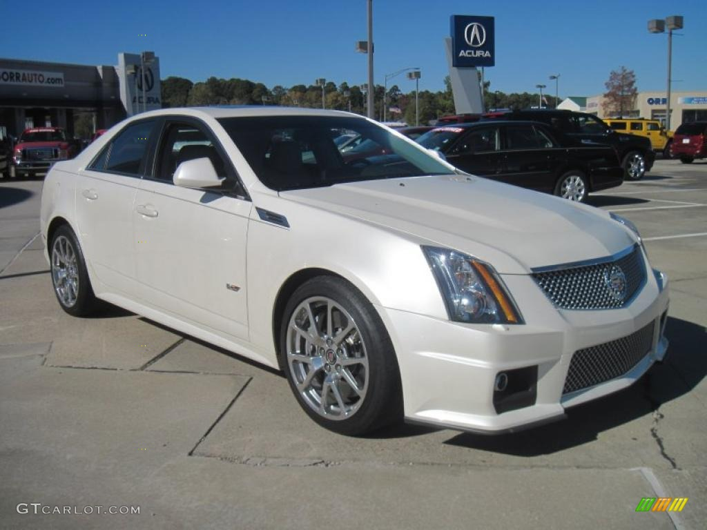 White Diamond Tricoat 2010 Cadillac Cts V Sedan Exterior