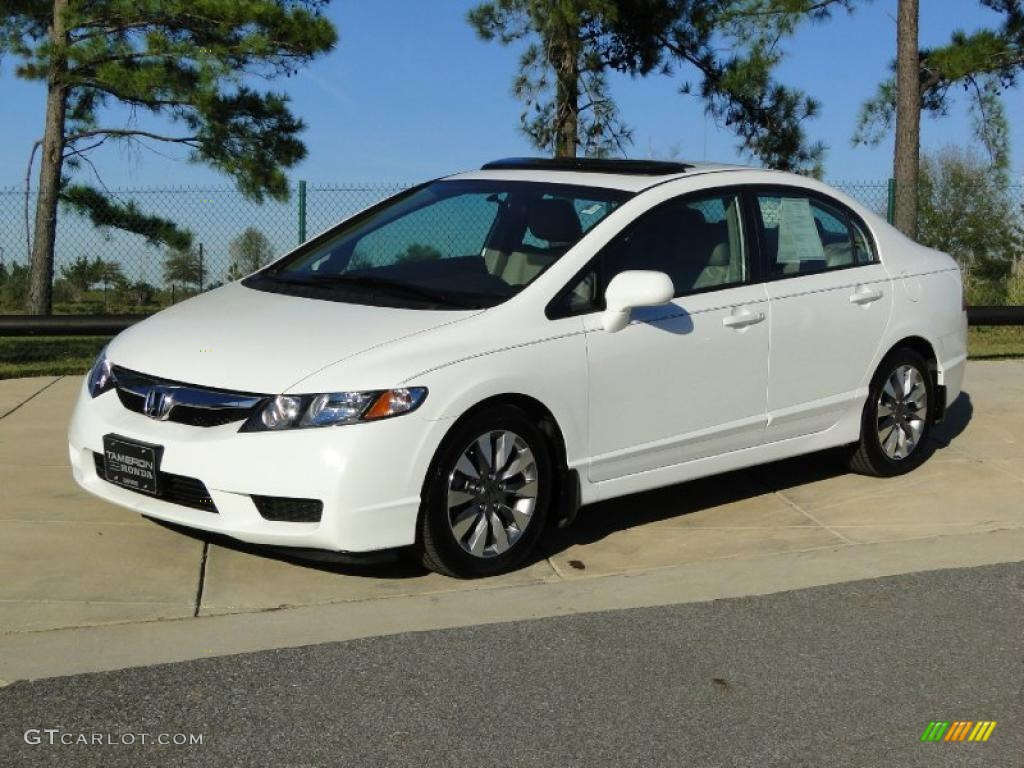 Taffeta White 2009 Honda Civic Ex L Sedan Exterior Photo