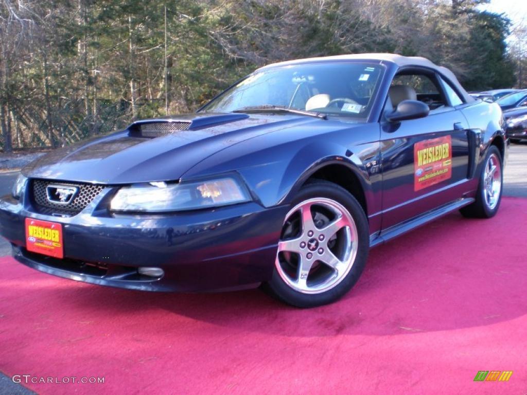 2003 Mustang GT Convertible - True Blue Metallic / Medium Parchment photo #1