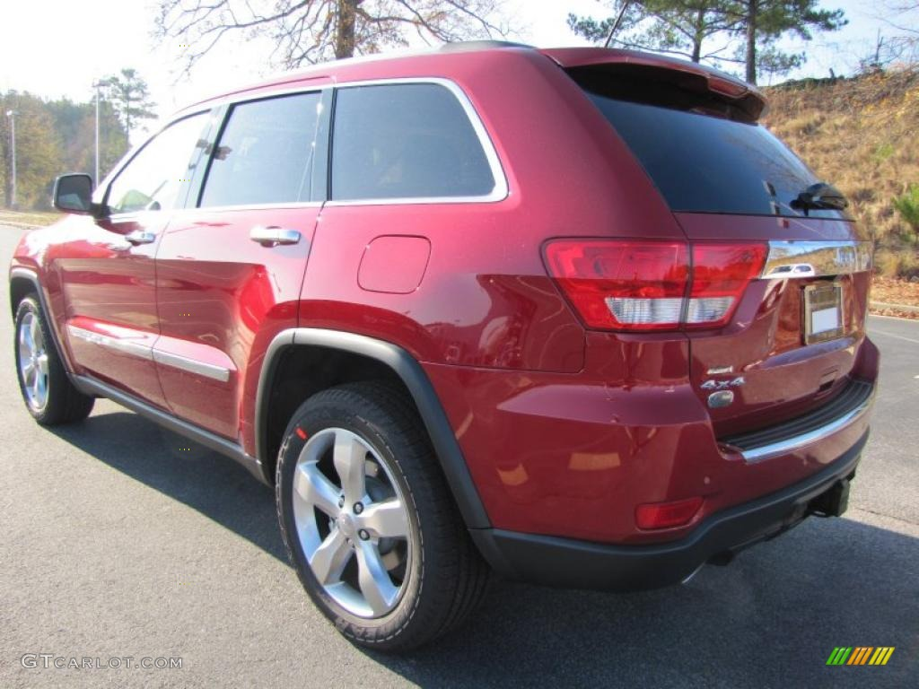 inferno red crystal pearl 2011 jeep grand cherokee overland 4x4 exterior photo 41141559. Black Bedroom Furniture Sets. Home Design Ideas