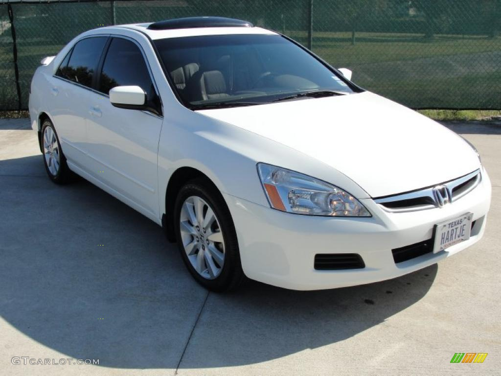 2007 Accord EX L V6 Sedan   Taffeta White / Ivory Photo #1