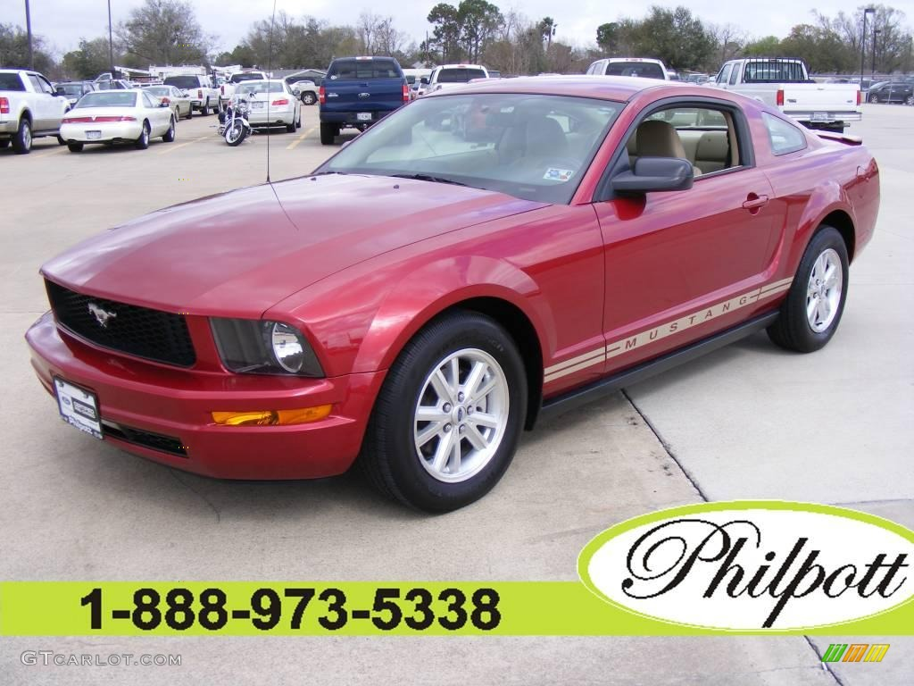 2007 Mustang V6 Deluxe Coupe - Redfire Metallic / Medium Parchment photo #1