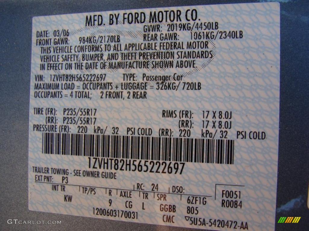 2006 Mustang Color Code P3 for Windveil Blue Metallic Photo #41202742