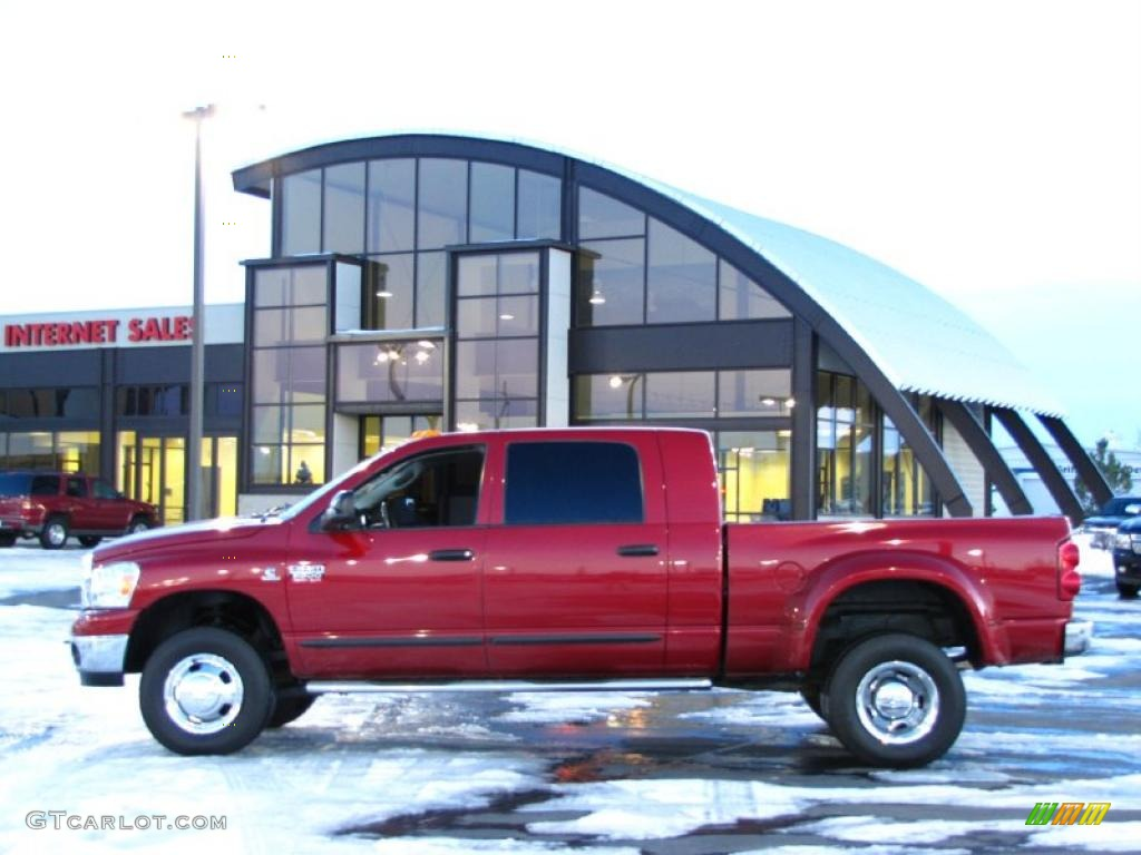 2008 Ram 3500 Laramie Mega Cab 4x4 Dually - Inferno Red Crystal Pearl / Khaki photo #1