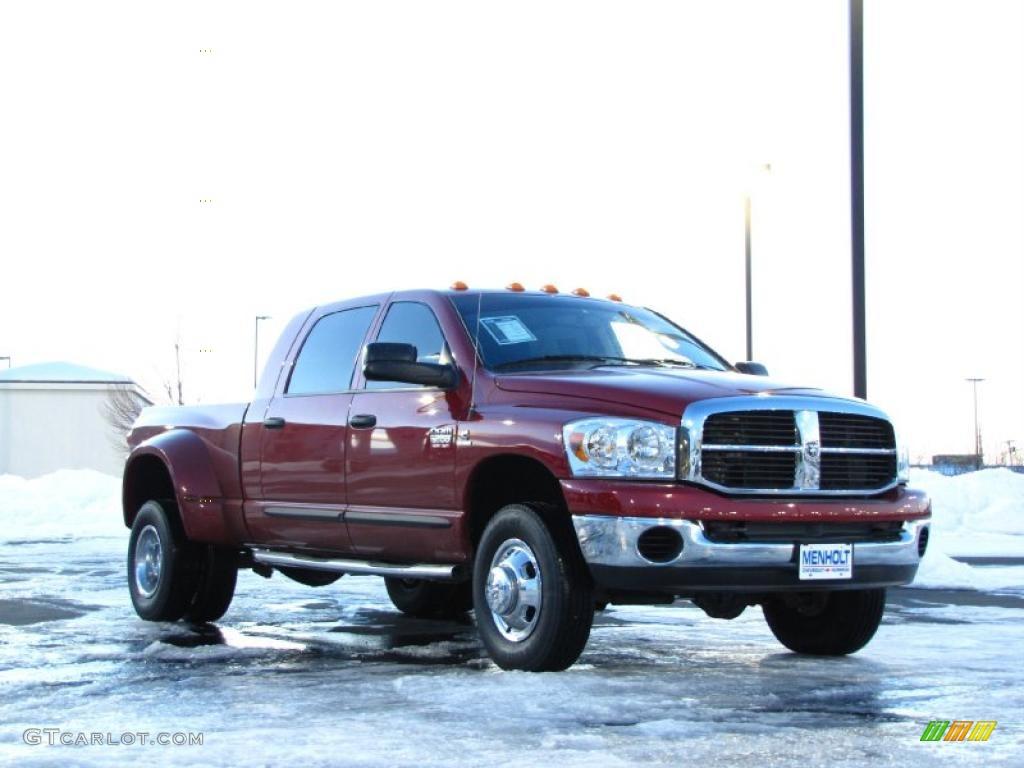 Inferno Red Crystal Pearl 2008 Dodge Ram 3500 Laramie Mega Cab 4x4 Dually Exterior Photo #41219763