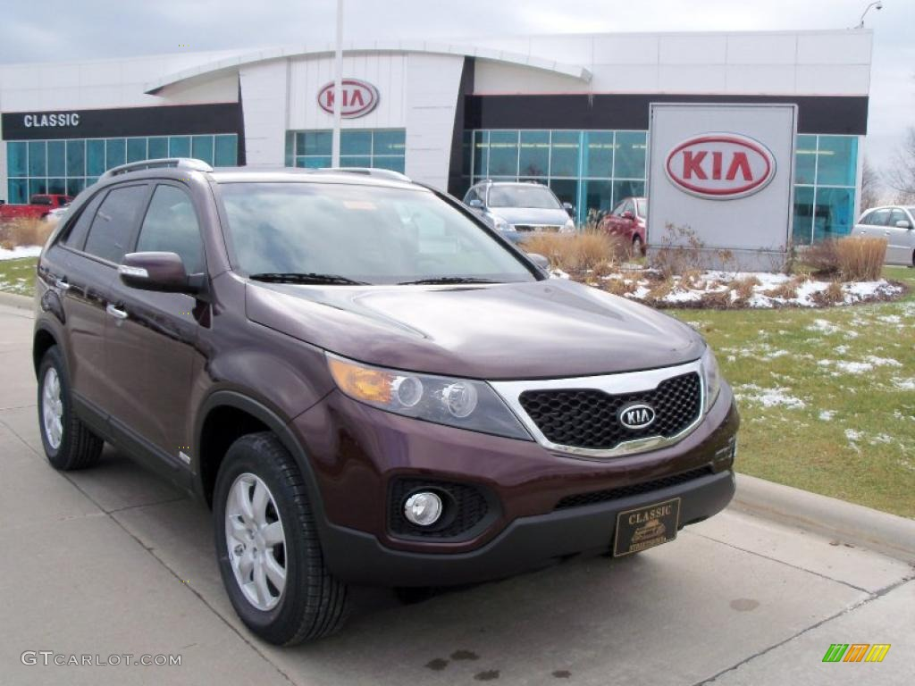 2011 Sorento LX AWD - Dark Cherry / Black photo #1