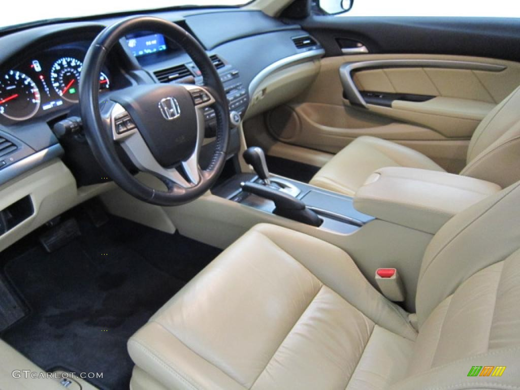 Ivory Interior 2009 Honda Accord Ex L V6 Coupe Photo