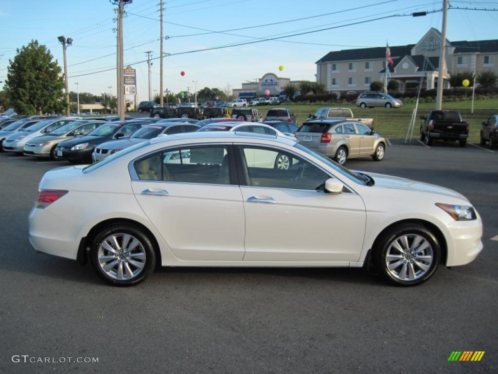 2011 White Diamond Pearl Honda Accord Ex L V6 Sedan
