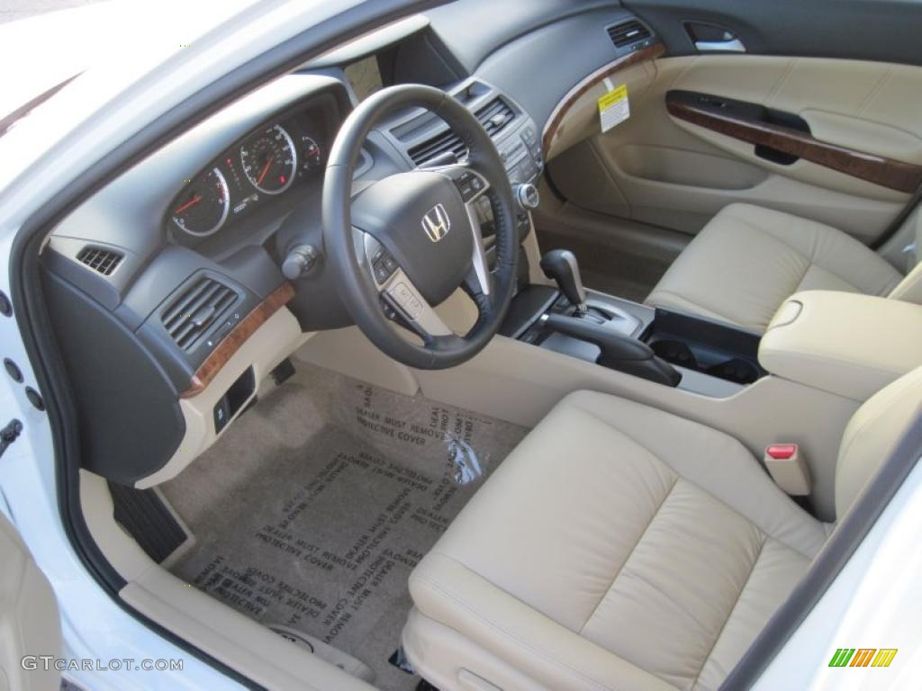 Ivory Interior 2011 Honda Accord Ex L V6 Sedan Photo