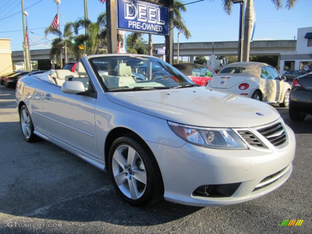 2010 snow silver metallic saab 9 3 2 0t convertible. Black Bedroom Furniture Sets. Home Design Ideas