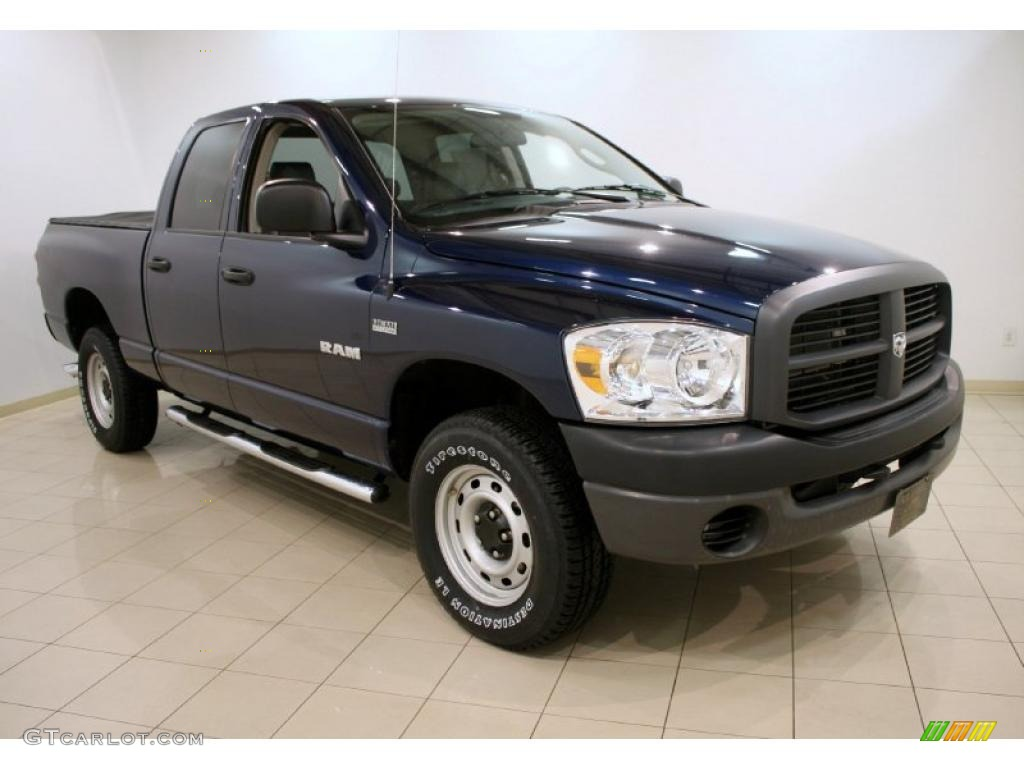 2008 Ram 1500 ST Quad Cab 4x4 - Patriot Blue Pearl / Medium Slate Gray photo #1