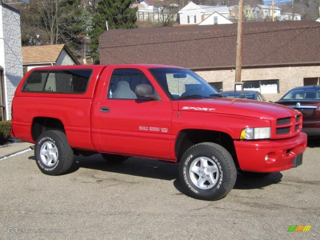 Flame Red 2000 Dodge Ram 1500 Sport Regular Cab 4x4 Exterior Photo