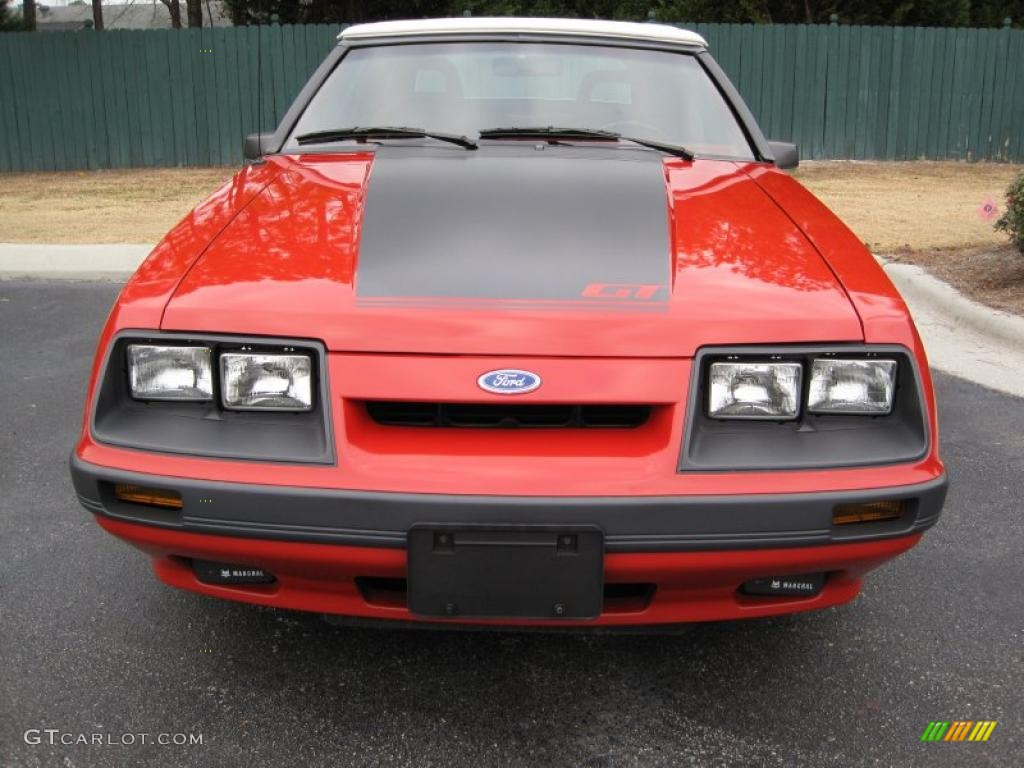 Bright Red 1986 Ford Mustang Gt Convertible Exterior Photo