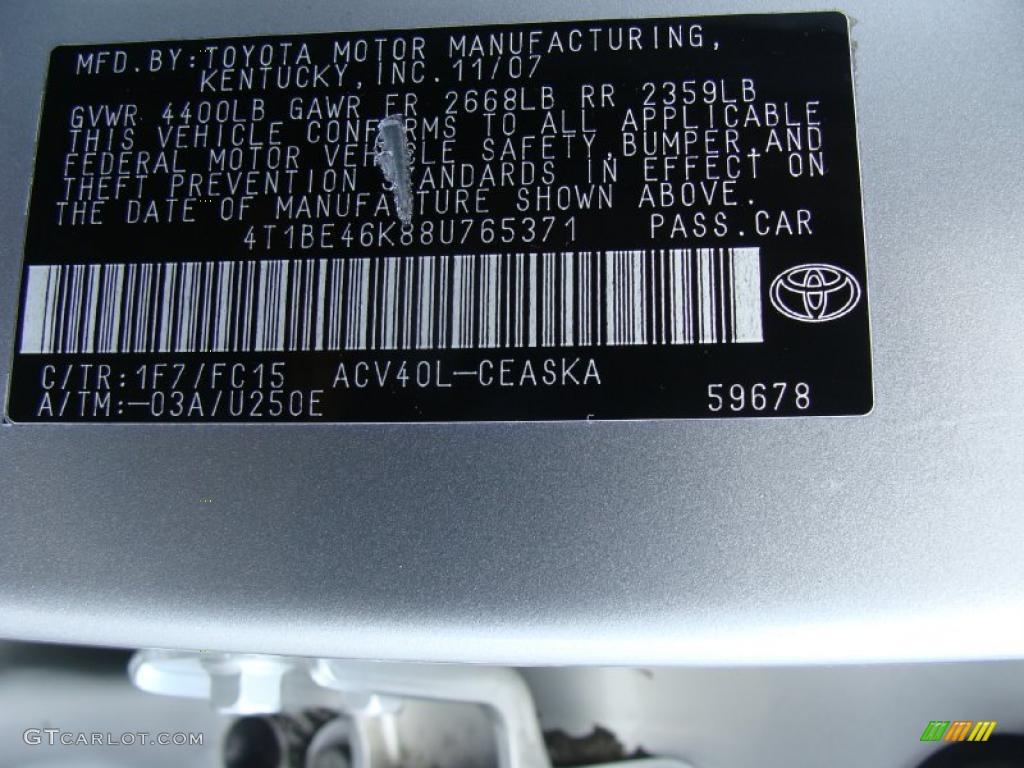 2008 Toyota Camry Se Color Code Photos Gtcarlot Com