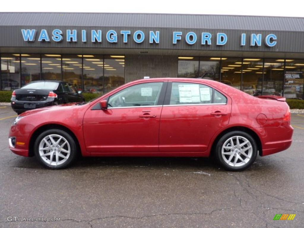 2011 Fusion SEL V6 AWD - Red Candy Metallic / Medium Light Stone photo #1