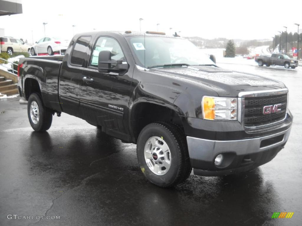 Onyx black 2011 gmc sierra 2500hd sle extended cab 4x4 exterior photo 42017349