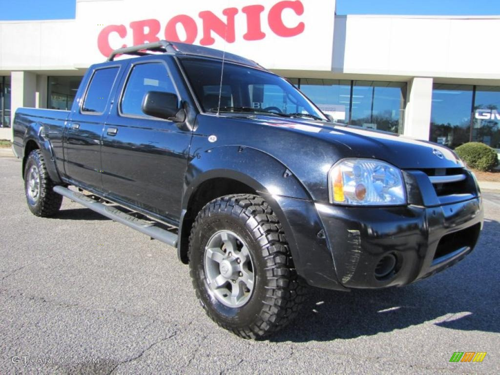 2004 Frontier XE V6 Crew Cab 4x4   Super Black / Charcoal Photo #1