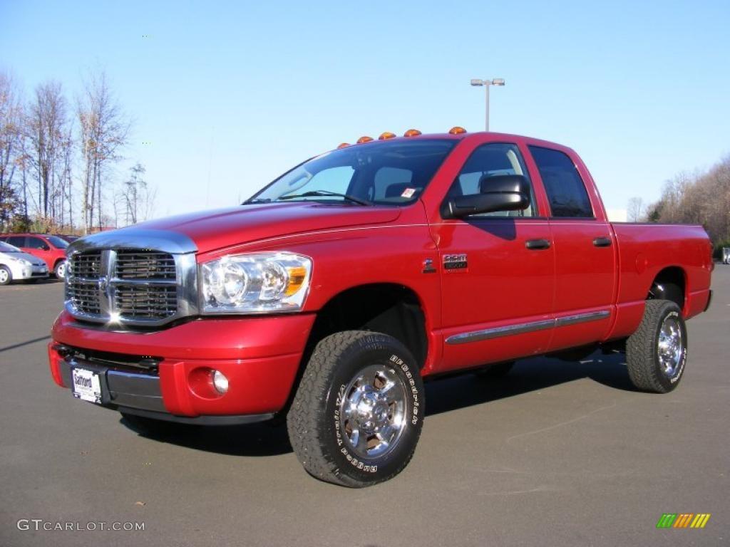 2007 Ram 3500 Laramie Quad Cab 4x4 - Inferno Red Crystal Pearl / Medium Slate Gray photo #1