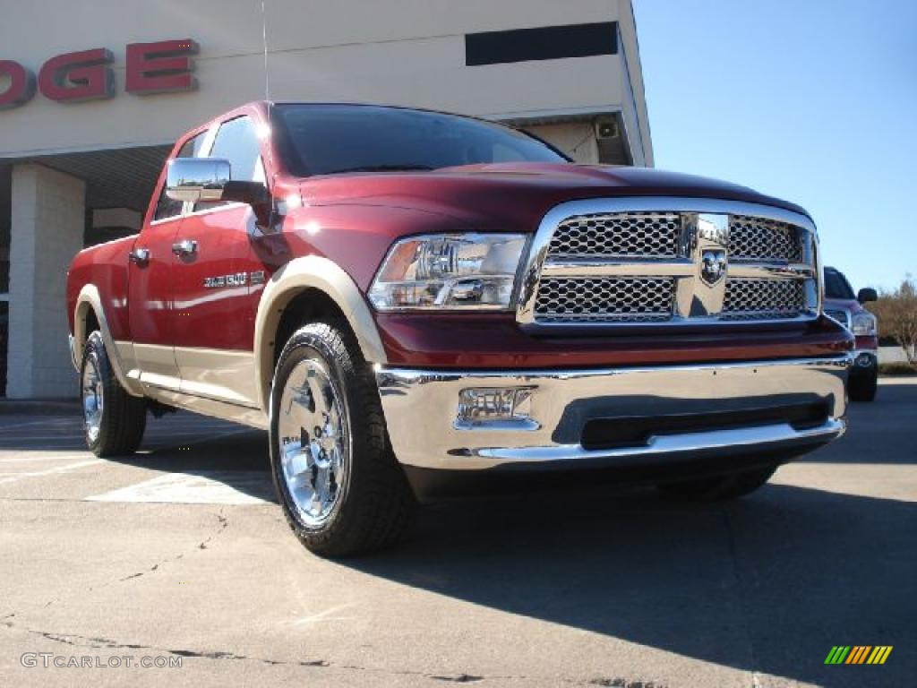 2011 Ram 1500 Laramie Quad Cab 4x4 - Deep Cherry Red Crystal Pearl / Light Pebble Beige/Bark Brown photo #1