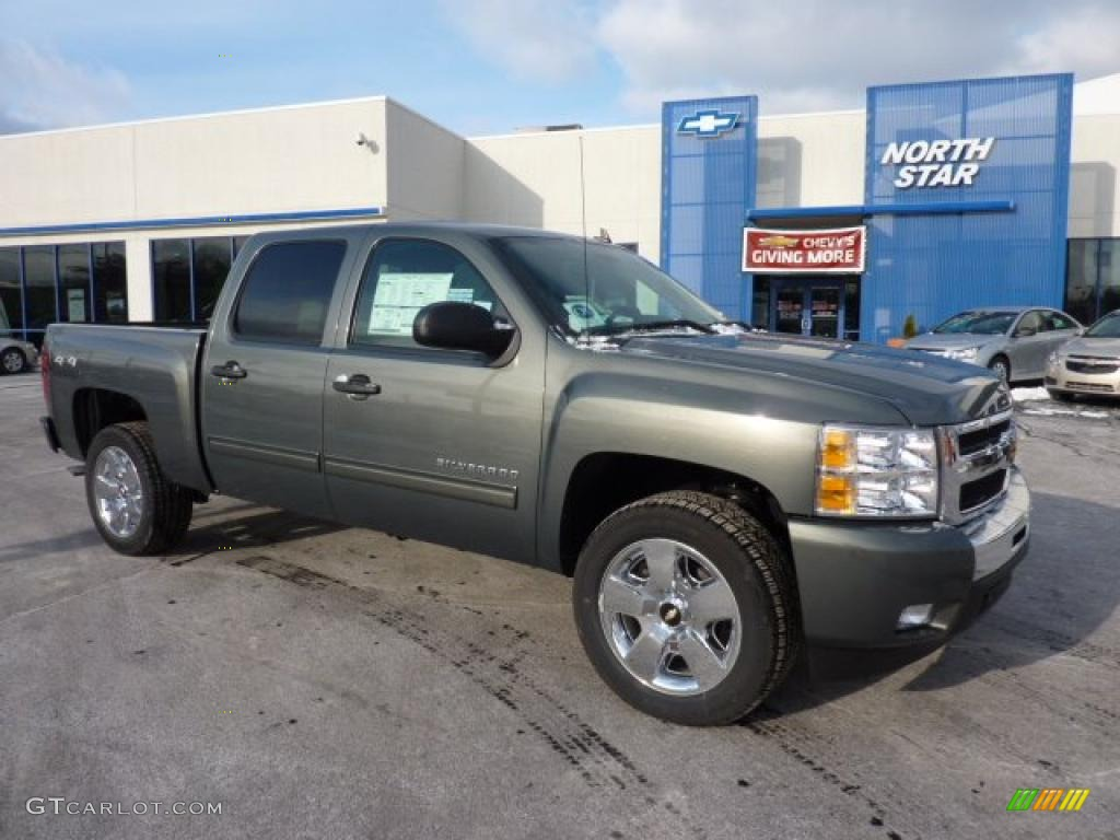 2011 Silverado 1500 LT Crew Cab 4x4 - Steel Green Metallic / Ebony photo #1