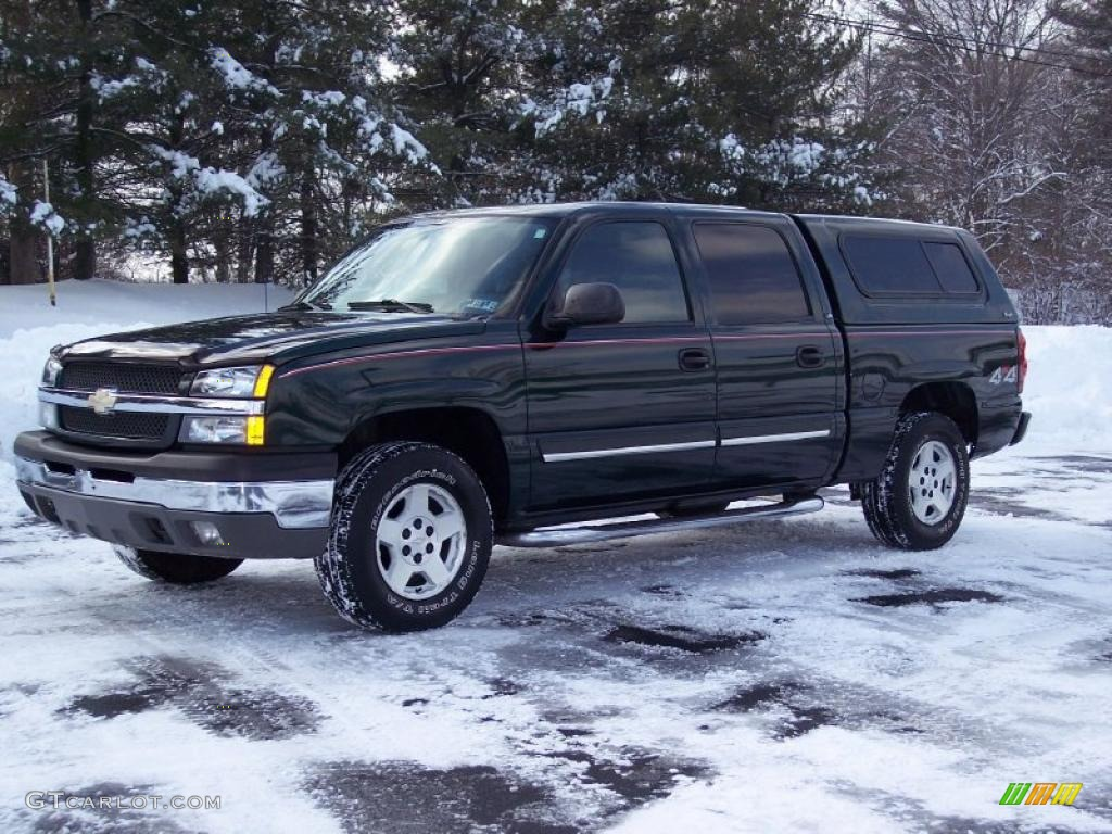 2004 dark green metallic chevrolet silverado 1500 lt crew cab 4x4 42873897 car. Black Bedroom Furniture Sets. Home Design Ideas