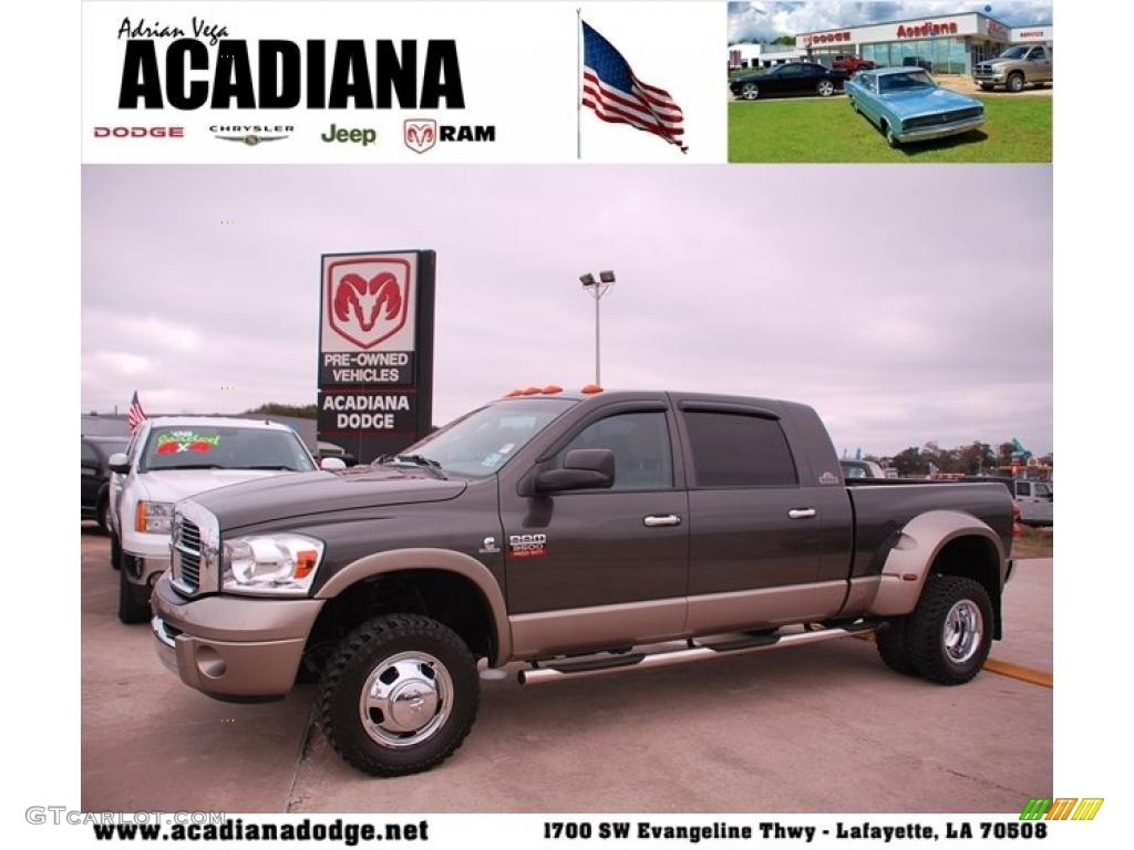 2008 Ram 3500 Laramie Resistol Mega Cab 4x4 Dually - Dark Khaki Metallic / Khaki photo #1