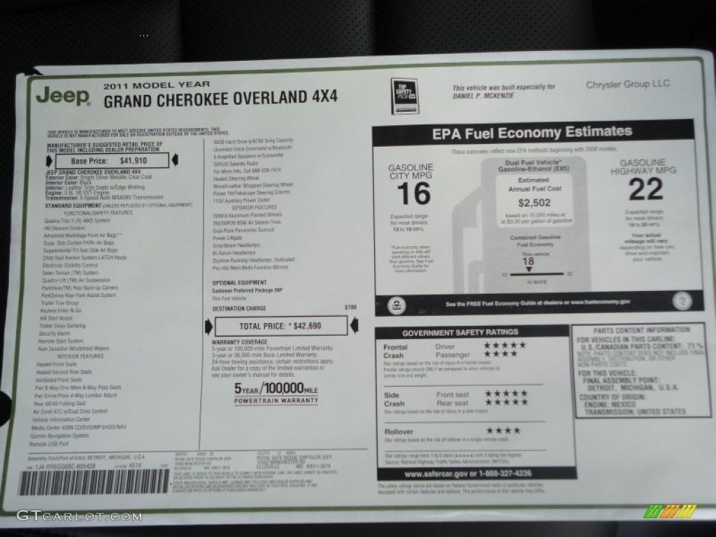 2011 Jeep Grand Cherokee Overland 4x4 Window Sticker Photo