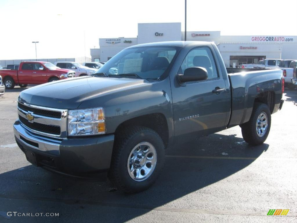 2011 Silverado 1500 LS Regular Cab 4x4 - Steel Green Metallic / Dark Titanium photo #1