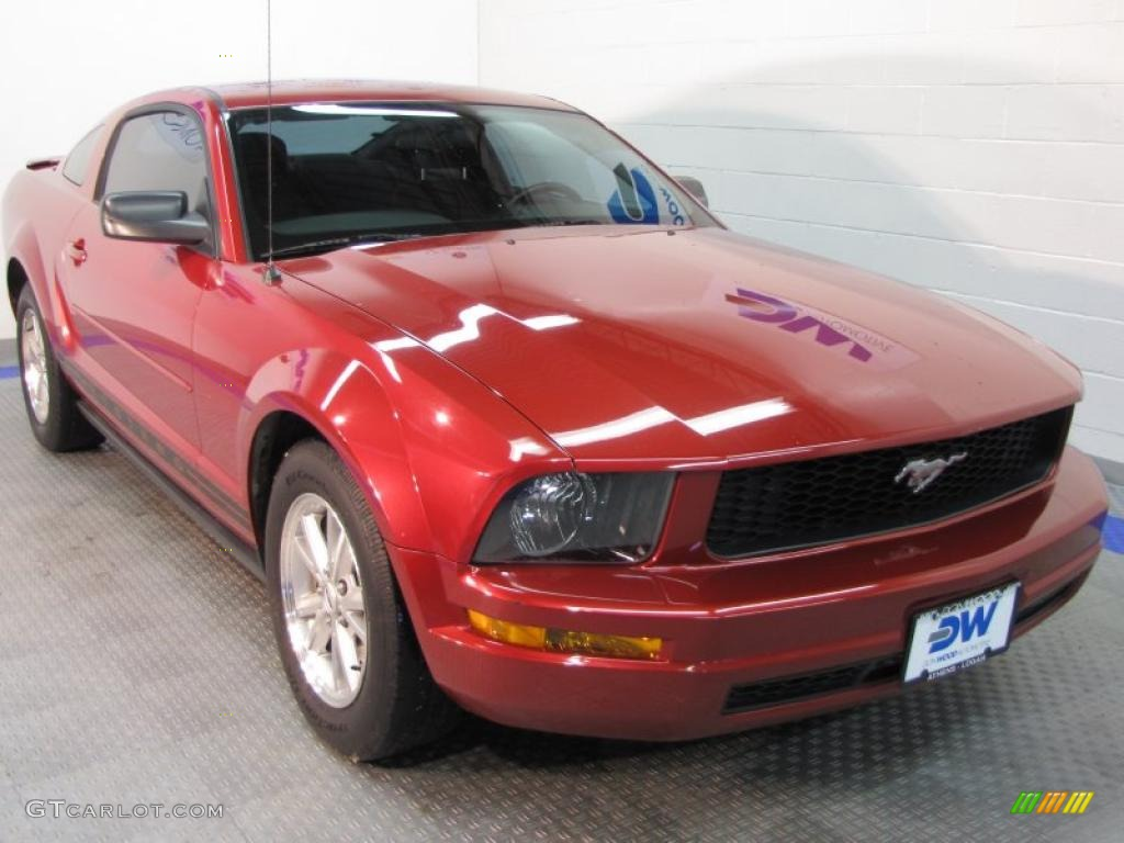 2007 Mustang V6 Deluxe Coupe - Redfire Metallic / Dark Charcoal photo #1