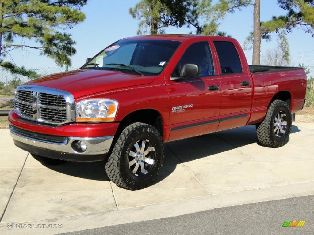 inferno red crystal pearl 2006 dodge ram 1500 big horn edition quad cab 4x4 exterior photo. Black Bedroom Furniture Sets. Home Design Ideas