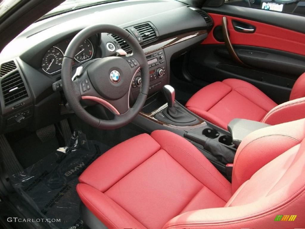 Coral Red Boston Leather Interior 2010 Bmw 1 Series 128i Convertible Photo 43628060