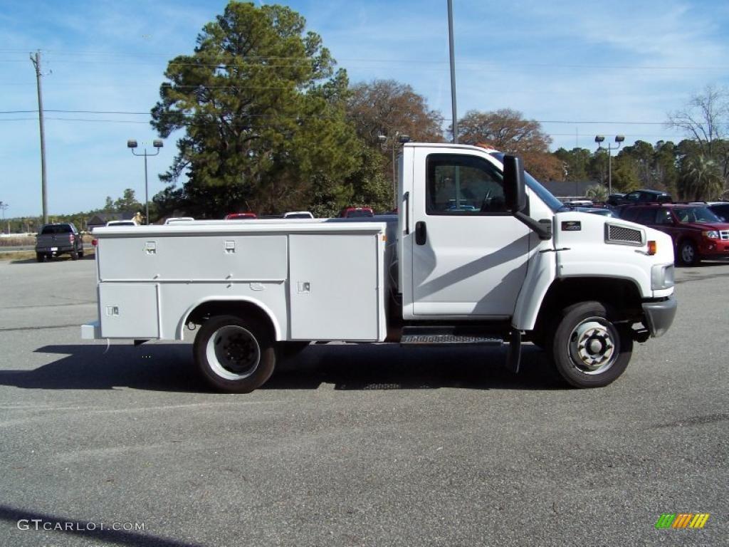 2004 C Series Kodiak C4500 Crew Cab Utility Dump Truck - Summit White / Black photo #4