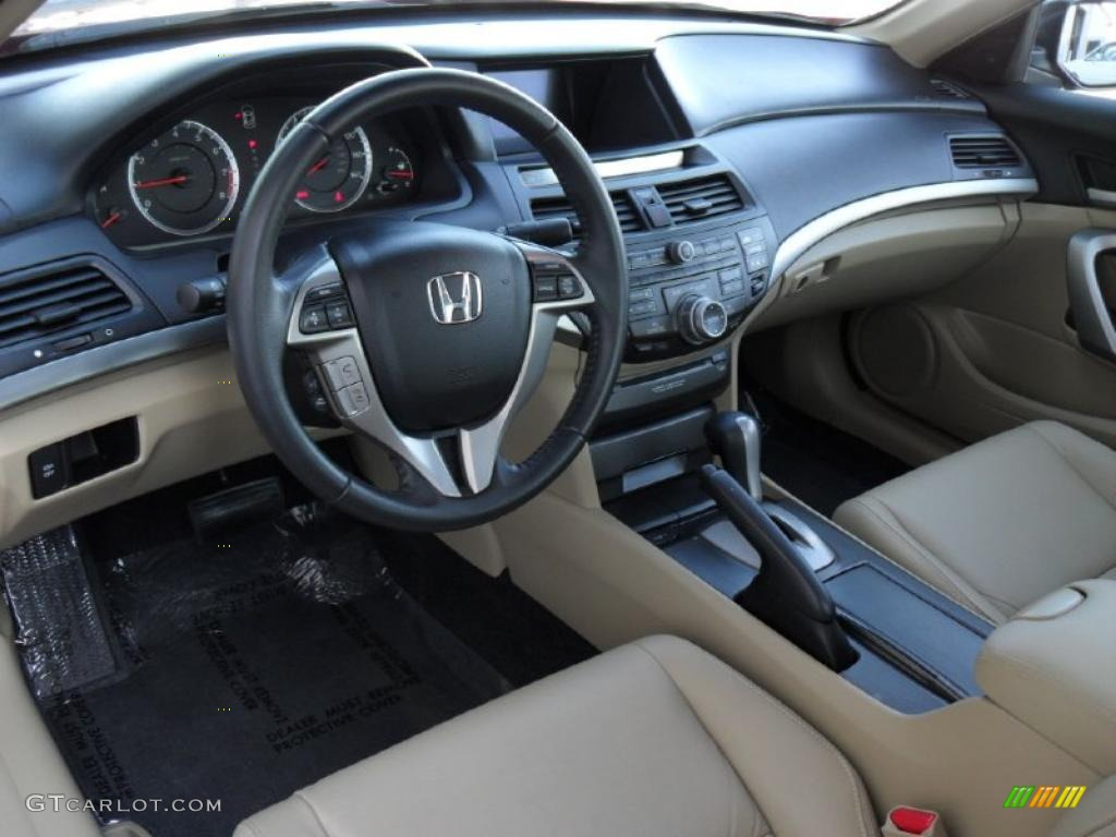 Ivory Interior 2010 Honda Accord Ex L V6 Coupe Photo