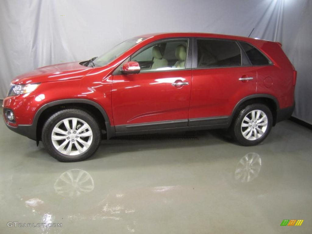 2011 Sorento EX - Spicy Red / Beige photo #3