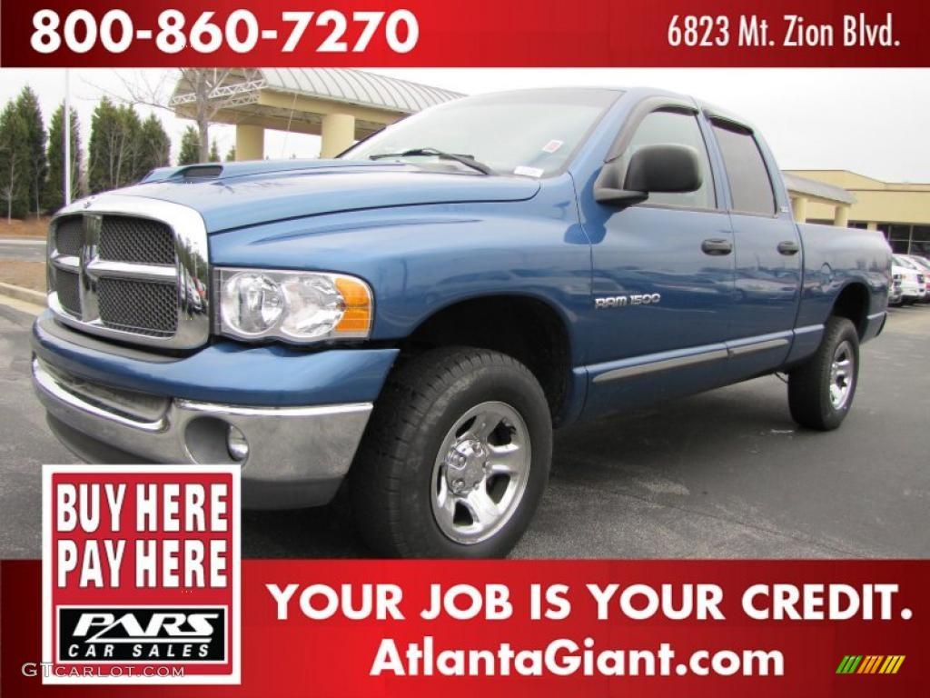 2002 Ram 1500 ST Quad Cab 4x4 - Atlantic Blue Pearl / Dark Slate Gray photo #1