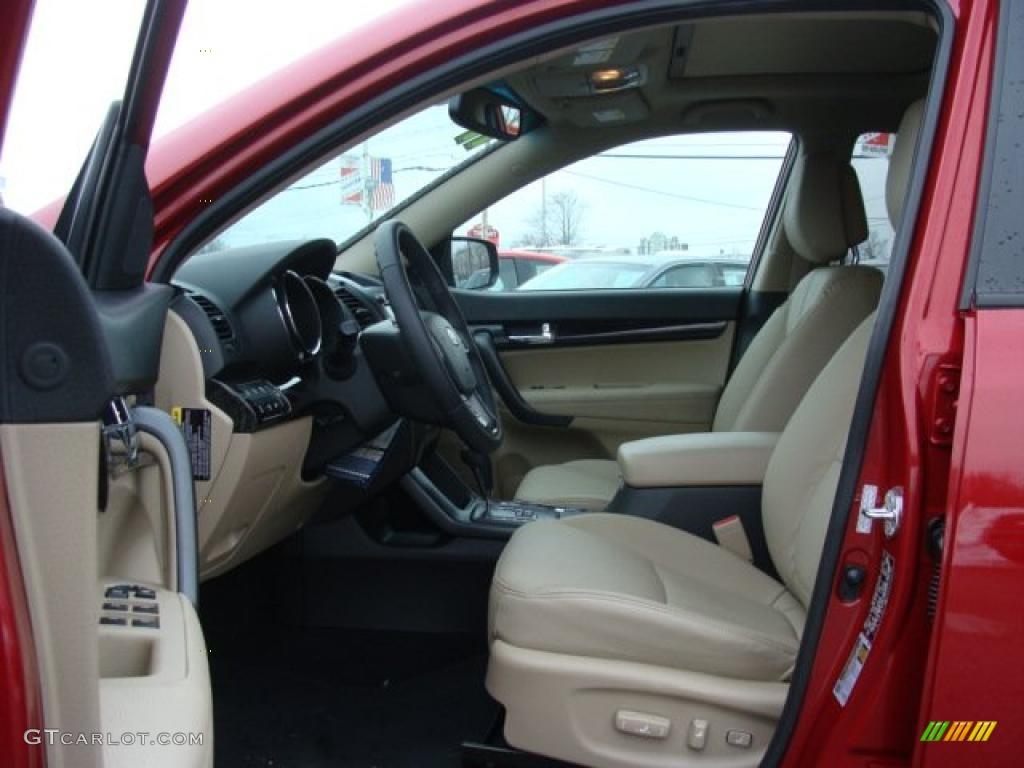 2011 Sorento EX V6 AWD - Spicy Red / Beige photo #7