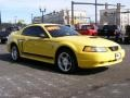 2000 Zinc Yellow Ford Mustang GT Coupe  photo #3