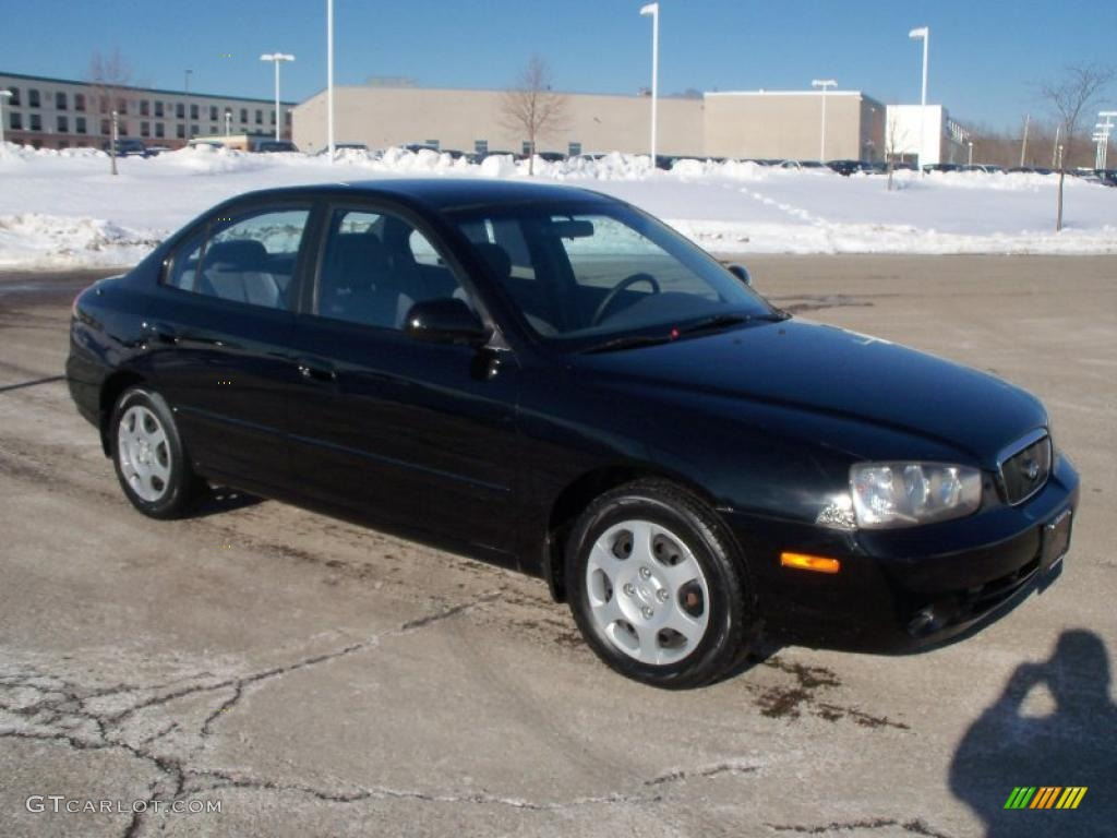 2002 Elantra GLS Sedan   Black Obsidian / Gray Photo #1