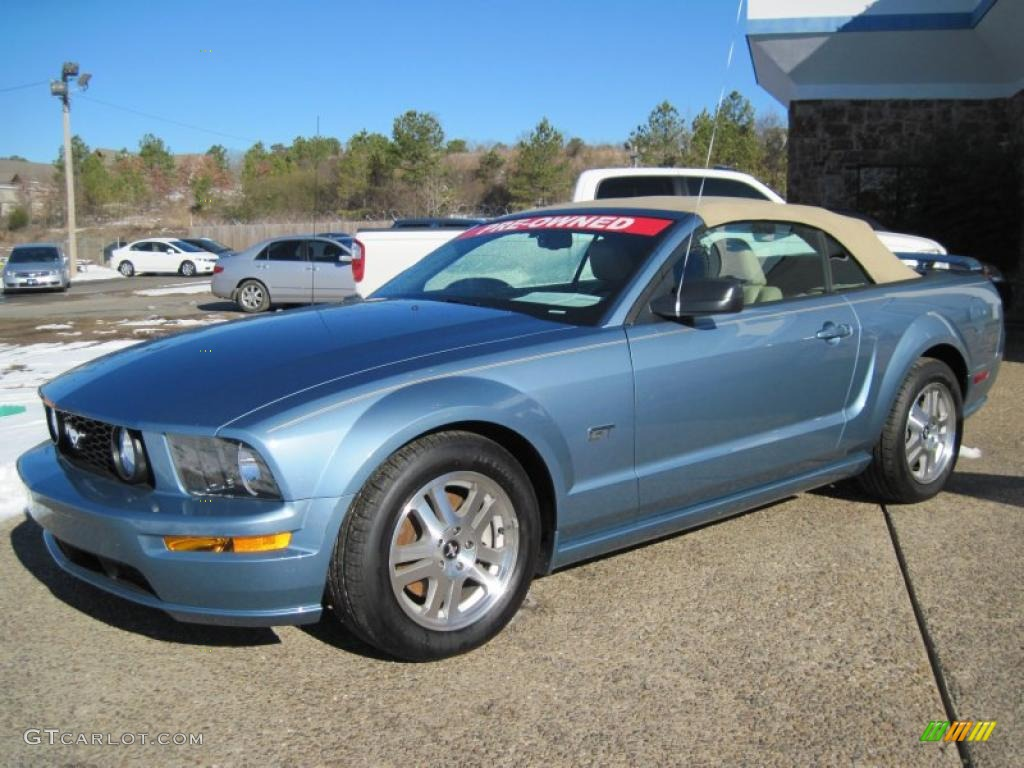 2007 Mustang GT Premium Convertible - Windveil Blue Metallic / Medium Parchment photo #1
