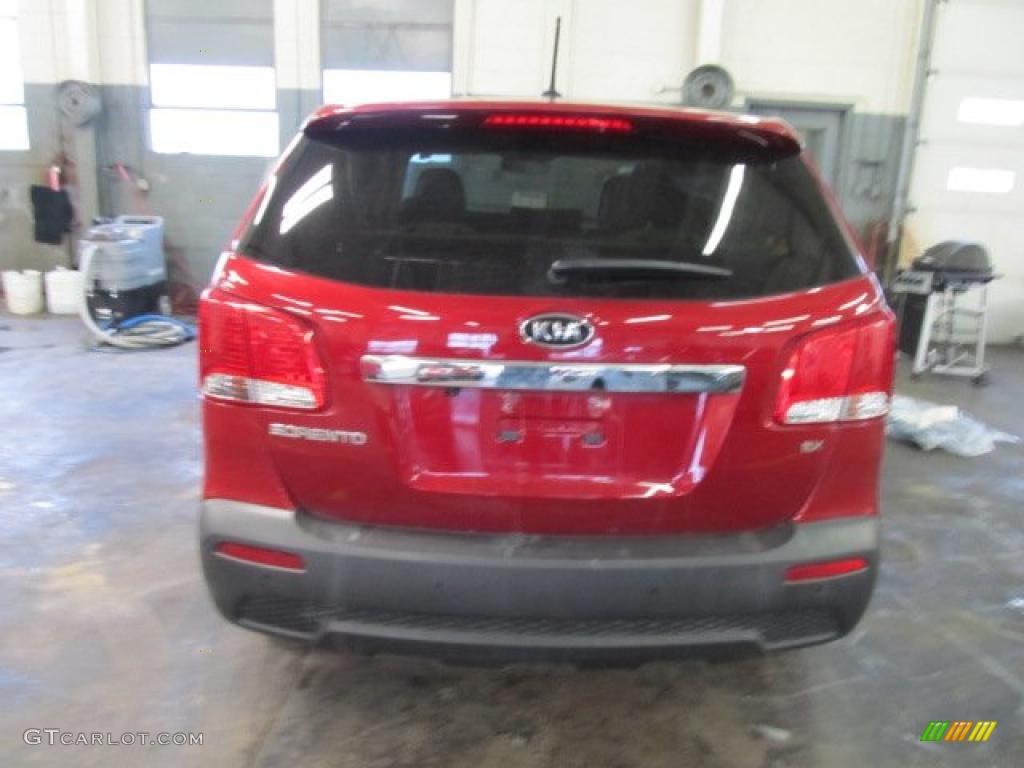 2011 Sorento LX AWD - Spicy Red / Beige photo #4